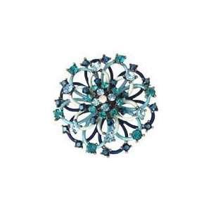 Blue Enamel and Swarovski Crystal Open Ring Flower Brooch