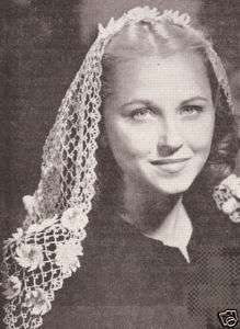 Vintage Crochet Mantilla Fascinator Scarf Pattern Shawl