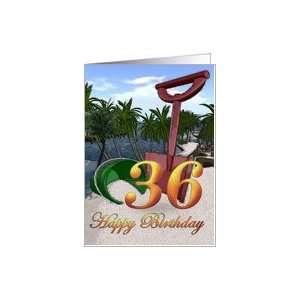 Palm trees side beach ocean shore tropical card Card Toys & Games