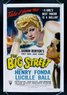BIG STREET * 1942 LUCILLE BALL I LOVE LUCY MOVIE POSTER