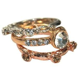Sparkling Crystal Triple Silver Rose and Gold Tone Stackable Ring Set