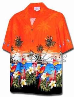 New Mens Orange Hawaiian Aloha Shirt Parrots Beach