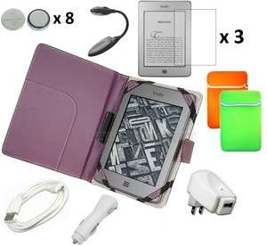 Purple Leather Case Cover Charger Bundle for Kindle Touch 3G WiFi