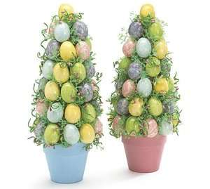 Easter Egg Tree In Pastel Colors Blue Pink Yellow Purple Easter Eggs