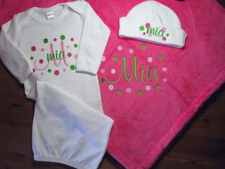 Personalized Baby Girl Blanket Gown Cap Polka Dots Monogrammed Shower
