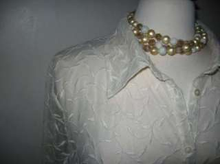 Womens RALPH LAUREN Sheer Ivory Blouse Shirt Embroidered Leaves 2X EUC