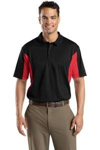 Sport Tek ST655 Mens Polo Shirt  Black/Red