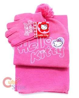 Sanrio Pink Hello Kitty  Beanie Gloves Set 1