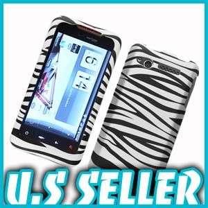 RUBBER BLACK WHITE ZEBRA HARD CASE 4 HTC MERGE ADR6325