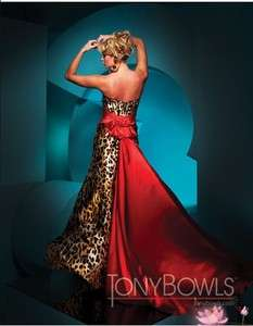 red leopard Wedding Bridesmaid/ Prom Gown Size*Custom