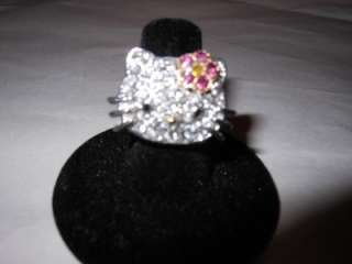 BEAUTIFUL Hello Kitty Large Crystal Ring + gift box US SELLER FAST