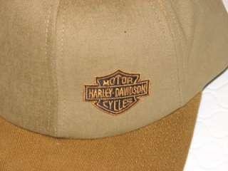DAVIDSON VINTAGE 2 TONE TAN & CAMEL BAR & SHIELD HAT CAP NEW