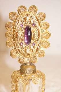 Jeweled Crystal Czech Czechoslovakia Stick Perfume Bottle NR