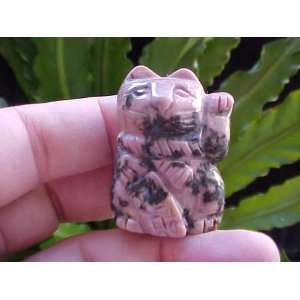 Gemqz Rhodonite Carved Lucky CAT Left PAW Cute