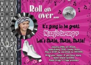 ROLLER SKATING SKATE CUSTOM BIRTHDAY INVITATIONS