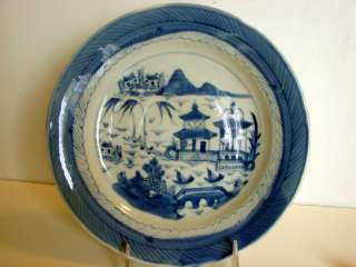 ANTIQUE CHINESE EXPORT CANTON CHARGER PLATE BLUE & WHITE MID 19TH
