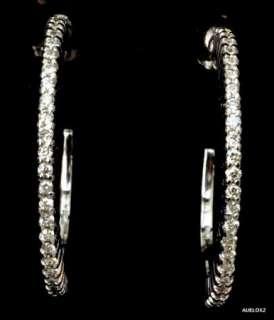 .00 ROBERTO COIN 18K White Gold Diamond Hoop Earrings SALE