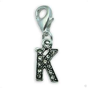 Charms pendant   Letter K initial marcasite style, bracelet Charm