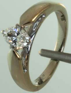14k white gold .37ct oval diamond engagement ring 4.9g