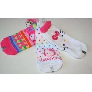 Hello Kitty Girls Low Cut Socks 3 Pair   Shoe Size 9 3 Multi color