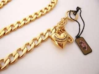 Auth Juicy Couture gold Starter necklace Bracelet Set