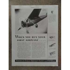American Eagle Aircraft Corp.,Vintage 20s full page print