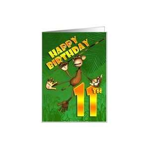 Happy 11th Birthday Monkey Banana Card Toys & Games