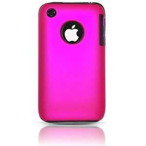 iPhone 3G S Hybrid Dual Protector Case Type2   Black/Hot Pink (Free