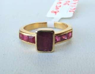 14 CARAT SOLID GOLD RUBY & DIAMOND GEMSTONE RING INDIA