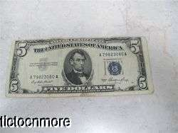 US 1953 $5 FIVE DOLLAR BILL BLUE SEAL SILVER CERTIFICATE SMALL NOTE