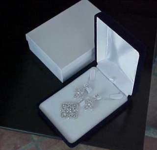 High End BLUE VELVET Deluxe Earring Necklace Ring Jewelry Set GIFT BOX
