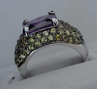 98 carats EMERALD cut Signity Purple & Canary cz Black Rhodium DOMED