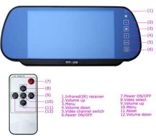 TFT LCD Rearview car mirror Monitor &4 Parking Sensors XD 068 LED