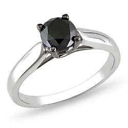 Silver 1ct TDW Black Diamond Solitaire Fashion Ring