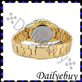 Gold Crystal Elegant Mens Womens Ladies Wrist Watch