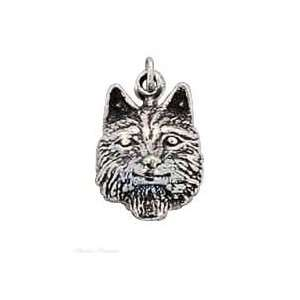 Sterling Silver Wolf Head Charm Arts, Crafts & Sewing
