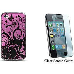 iPhone 4 Purple Flower Butterfly Hard Protector Case