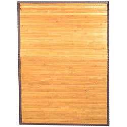 Hand woven Light Yellow Bamboo Rug (6 x 9)