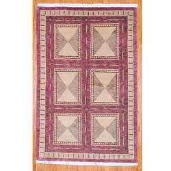 Hand knotted Eggplant/ Beige Wool Rug (59 x 810)