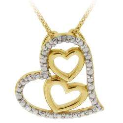 over Sterling Silver Diamond Accent Heart Necklace