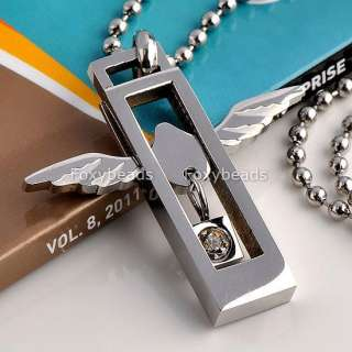Stainless Steel Love Heart Silvery Angel Wings Pendant Necklace