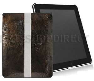 APPLE IPAD 1ST BROWN LEATHER SLIM COVER CASE+LCD GUARD