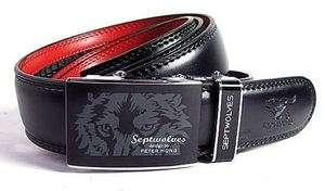 2012 New Mens Belt Genuine Septwolve Fashion Red Leathe Auto Lock