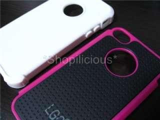 PINK WHITE BLACK 3LAYER HYBRID HARD CASE COVER Ballistic Style