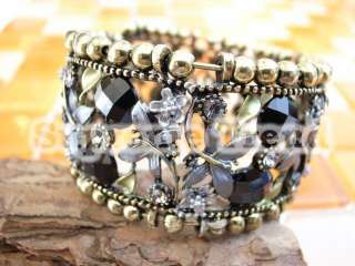 Swarovski Crystal Flower Wide Metal Bangle Cuff Bracelet 111