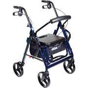 Medical Duet Transport Wheelchair Chair Rollator Walker Aluminum,Blue