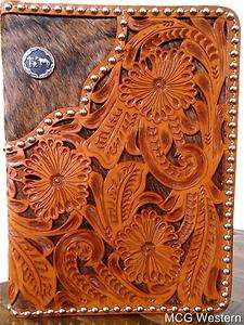 KNEELING COWBOY HAND TOOLED LEATHER BIBLE COVER   ZIPPERED CLOSURE