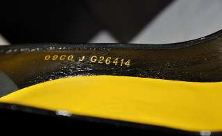 New CHANEL CC Logo Shoes Patent Leather Black Yellow Pumps Escarpins