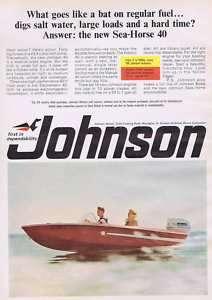 1966 JOHNSON SEA HORSE 40 BOAT MOTOR OUTBOARD PRINT AD
