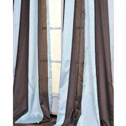 Blue and Coffee Striped 84 inch Sheer Curtain Panel  Overstock